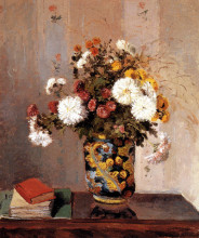 "Картина ""chrysanthemums in a chinese vase"" художника ""писсарро камиль"""