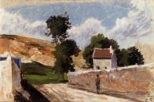 """Картина """"A Street in l'Hermitage, Pontoise"""" художника """"Писсарро Камиль"""""""