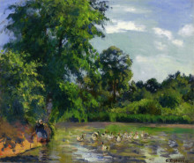 "Картина ""ducks on the pond at montfoucault"" художника ""писсарро камиль"""