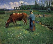 """Картина """"Girl Tending a Cow in Pasture"""" художника """"Писсарро Камиль"""""""