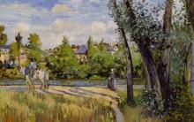 """Репродукция картины """"Landscape, Bright Sunlight, Pontoise"""" художника """"Писсарро Камиль"""""""