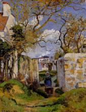 "Репродукция картины ""Peasant Pushing a Wheelbarrow, Maison Rondest, Pontoise"" художника ""Писсарро Камиль"""