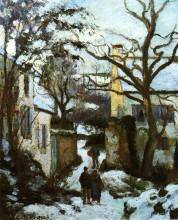 """Картина """"the road to l'hermitage in snow"""" художника """"писсарро камиль"""""""
