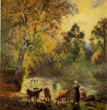 "Картина ""Autumn, Montfoucault Pond"" художника ""Писсарро Камиль"""