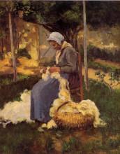 """Картина """"female peasant carding wool"""" художника """"писсарро камиль"""""""