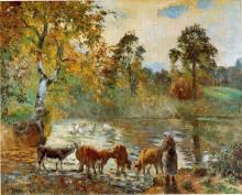 """Репродукция картины """"The Pond at Montfoucault"""" художника """"Писсарро Камиль"""""""