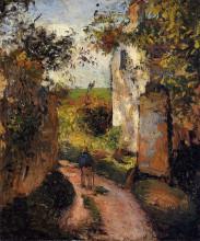 """Копия картины """"A Peasant in the Lane at Hermitage, Pontoise"""" художника """"Писсарро Камиль"""""""