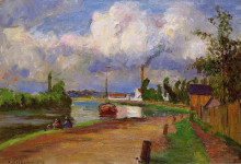 """Картина """"fishermen on the banks of the oise"""" художника """"писсарро камиль"""""""
