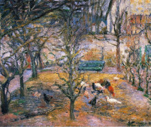 "Репродукция картины ""Farmyard at the Maison Rouge, Pontoise"" художника ""Писсарро Камиль"""