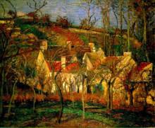 "Копия картины ""red roofs, corner of a village, winter"" художника ""писсарро камиль"""
