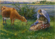 """Репродукция картины """"cowherd, pontoise"""" художника """"писсарро камиль"""""""