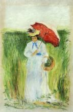 """Картина """"young woman with an umbrella"""" художника """"писсарро камиль"""""""