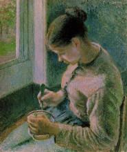"""Картина """"peasant girl drinking her coffee"""" художника """"писсарро камиль"""""""