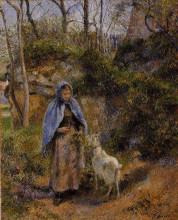 """Картина """"Peasant Woman with a Goat"""" художника """"Писсарро Камиль"""""""