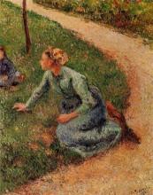 """Картина """"Peasant Trimming the Lawn"""" художника """"Писсарро Камиль"""""""