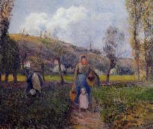 """Картина """"peasant woman and child harvesting the fields, pontoise"""" художника """"писсарро камиль"""""""