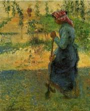 "Картина ""study of a peasant in open air (also known as peasant digging)"" художника ""писсарро камиль"""