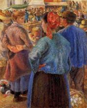 """Репродукция картины """"the poultry market at pontoise"""" художника """"писсарро камиль"""""""