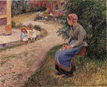 "Копия картины ""A Servant Seated in the Garden at Eragny"" художника ""Писсарро Камиль"""