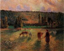 """Репродукция картины """"cowherd at eragny"""" художника """"писсарро камиль"""""""