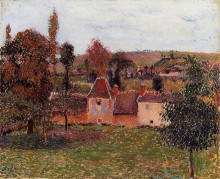 """Картина """"farm at basincourt"""" художника """"писсарро камиль"""""""