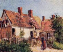 """Картина """"old houses at eragny"""" художника """"писсарро камиль"""""""