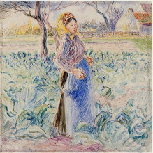 "Репродукция картины ""peasant woman in a cabbage patch"" художника ""писсарро камиль"""