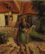 """Картина """"Shepherdess Bringing in Sheep"""" художника """"Писсарро Камиль"""""""