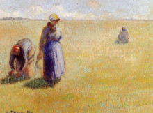 "Репродукция картины ""Three Women Cutting Grass"" художника ""Писсарро Камиль"""