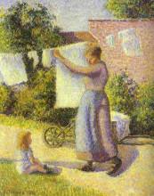 """Картина """"woman hanging up the washing"""" художника """"писсарро камиль"""""""