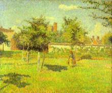 """Репродукция картины """"woman in an orchard, spring sunshine in a field, eragny"""" художника """"писсарро камиль"""""""