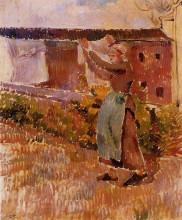 """Картина """"Women Tending the Laundry (study)"""" художника """"Писсарро Камиль"""""""