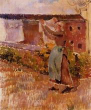 "Картина ""women tending the laundry (study)"" художника ""писсарро камиль"""