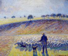 """Копия картины """"shepherd and sheep"""" художника """"писсарро камиль"""""""