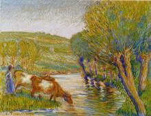"""Картина """"the river and willows, eragny"""" художника """"писсарро камиль"""""""