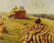 "Репродукция картины ""Flock of Sheep in a Field after the Harvest"" художника ""Писсарро Камиль"""