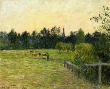 """Картина """"cowherd in a field at eragny"""" художника """"писсарро камиль"""""""