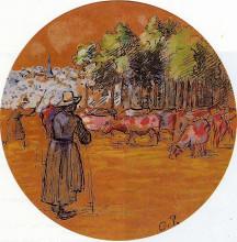 """Копия картины """"cowherds, bazincourt"""" художника """"писсарро камиль"""""""