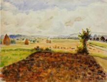 """Картина """"landscape at eragny, clear weather"""" художника """"писсарро камиль"""""""
