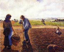 "Репродукция картины ""peasants in the field, eragny"" художника ""писсарро камиль"""