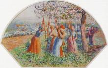 """Копия картины """"peasants planting pea sticks (also known as peasants planting in the field)"""" художника """"писсарро камиль"""""""
