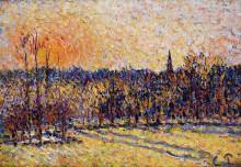 """Картина """"sunset, bazincourt steeple"""" художника """"писсарро камиль"""""""
