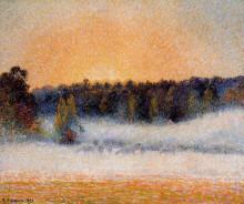 "Копия картины ""setting sun and fog, eragny"" художника ""писсарро камиль"""
