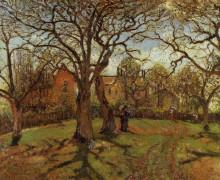 """Репродукция картины """"chestnut trees, louveciennes, spring"""" художника """"писсарро камиль"""""""