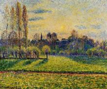 "Репродукция картины ""view of bazincourt, sunset"" художника ""писсарро камиль"""