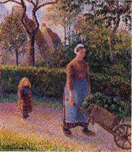 """Репродукция картины """"woman with a wheelbarrow"""" художника """"писсарро камиль"""""""