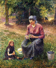 "Репродукция картины ""peasant woman and child, eragny"" художника ""писсарро камиль"""