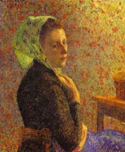 "Картина ""woman wearing a green headscarf"" художника ""писсарро камиль"""