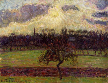 "Репродукция картины ""the fields of eragny, the apple tree"" художника ""писсарро камиль"""