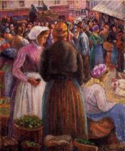 """Репродукция картины """"market at pontoise"""" художника """"писсарро камиль"""""""